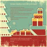 Cajas de regalos retras de la Navidad en el papel viejo. Vagos del vector Fotografía de archivo libre de regalías