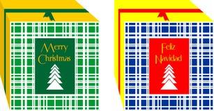 Cajas de regalos simples y elegantes de la Navidad, adornadas con la cinta de oro alrededor del color rojo ` De la Feliz Navidad  libre illustration