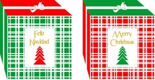 Cajas de regalos simples y elegantes de la Navidad ` De la Feliz Navidad del ` escrito en idiomas españolas e inglesas stock de ilustración