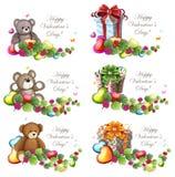 Cajas de Valentine Teddy Bears y de regalo Imagen de archivo libre de regalías