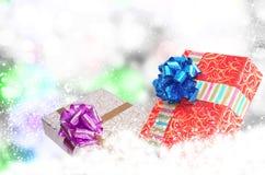 Cajas del Año Nuevo Holiday.Christmas.Gift Imágenes de archivo libres de regalías