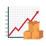 Cajas del cartón con la flecha encima de estadísticas stock de ilustración