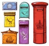Cajas del correo fijadas Imágenes de archivo libres de regalías