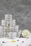 Cajas del favor de la boda Fotografía de archivo