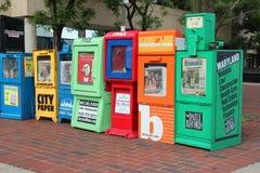 Cajas del periódico de la ciudad Foto de archivo libre de regalías