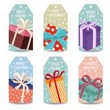 Cajas del withgift de la colección de las etiquetas de la Navidad stock de ilustración