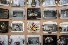 Cajas en la urna en el cementerio fotografía de archivo libre de regalías