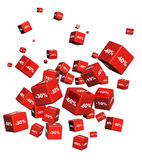 Cajas rojas con las mercancías en un descuento Foto de archivo