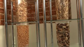 Cajas transparentes con la diversa clase combustible ecológico de las bio pelotillas de bio almacen de metraje de vídeo