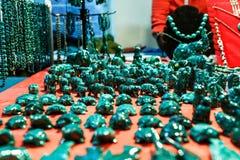 Cajas y accesorios de la malaquita Foto de archivo libre de regalías