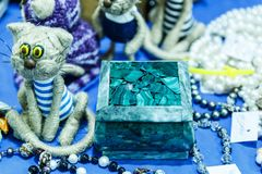 Cajas y accesorios de la malaquita Imagen de archivo
