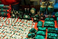 Cajas y accesorios de la malaquita Foto de archivo