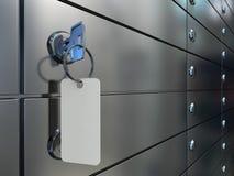 Cajas y llave de depósito seguro Fotos de archivo