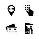 Cajero automático Iconos relacionados simples del vector Foto de archivo