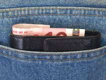 cajgów pieniądze kieszeń Fotografia Stock
