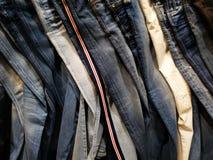 Cajgów spodnia - różnorodni wzory i ściegi fotografia stock