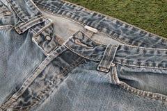Cajg błękitnej tekstury materialny drelichowy tło Zdjęcie Royalty Free