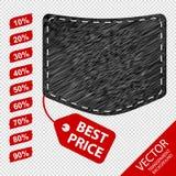 Cajg kieszeń Z rabat etykietkami Odizolowywać Na Przejrzystym tle - Najlepszy ceny pojęcia ikony - Fotografia Stock