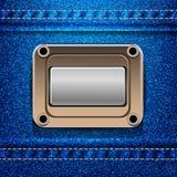 Cajg tekstury eps 10 tło z etykietką Zdjęcie Stock