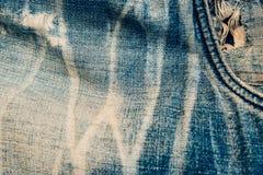 Cajg tekstury tło, kieszeniowy zbliżenie Zdjęcia Stock