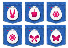 Cajgi wkładać do kieszeni końcówki Wielkanocnego jajko ilustracja wektor