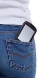 cajgi wkładać do kieszeni smartphone Obraz Stock