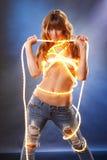 cajgu światła sznurek Zdjęcia Stock