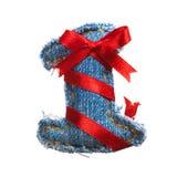 Cajgu abecadła cyfra z wakacyjnym czerwonym faborkiem Fotografia Royalty Free