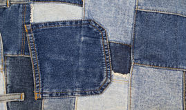 Cajgu patchworku tło, drelichowy patchwork Zdjęcia Royalty Free