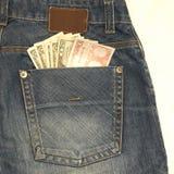 cajgu pieniądze obraz stock