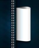 Cajgu szew z biel pustą etykietką Fotografia Stock