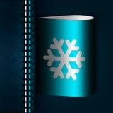 Cajgu szew z płatek śniegu etykietką Zdjęcia Royalty Free
