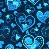 Cajgu tło z sercami Wektorowy Drelichowy bezszwowy wzór tkanina błękitny cajgi Obrazy Royalty Free