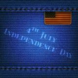 Cajgu tło z skóry flaga i wpisowym Indepe Fotografia Royalty Free