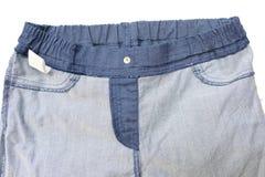 Cajgu trouser odizolowywający na białym tle (powraca stronę) zdjęcia royalty free