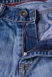 Cajgu zakończenie Przepięcia, szwy, suwaczki Przeplatać tkaninę w Zdjęcie Stock
