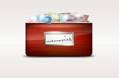 Cajón de madera con las fotos abstractas Imagen de archivo