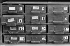 Cajones antiguos numerados del metal - B&W Fotografía de archivo libre de regalías