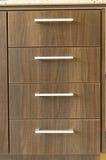 Cajones de madera de la cocina Imagen de archivo