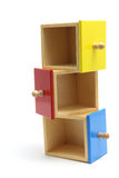 Cajones de madera miniatura Imagenes de archivo