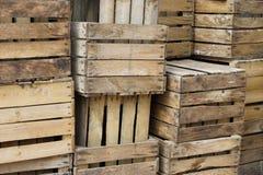 Cajones viejos de la fruta Foto de archivo libre de regalías