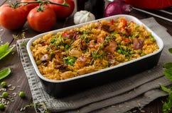 Цыпленок Cajun с рисом Стоковые Фото