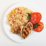 Cajun chicken and rice meal from above Stock Images