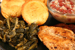 Cajun Chicken and Turnip Greens Royalty Free Stock Photography
