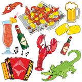 Cajun Food, Music and drinks clipart icons and ele. Ments, isolated on white Royalty Free Stock Photo
