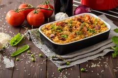 Cajun-Huhn mit Reis stockfoto