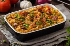 Cajun-Huhn mit Reis stockfotografie