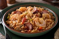Cajun Jambalaya. A bowl of delicious cajun style jambalaya with shrimp, chicken and sausage stock image
