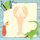 Cajun Lobster Boil Party Invitation. Fun Cajun lobster boil party invitation with accordion, alligator, hurricane cocktail and a lobster silhouette on vintage