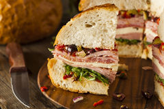 Cajun Muffaletta Sandwich with Meat and Cheese Royalty Free Stock Photo